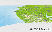 Physical Panoramic Map of Santa Cruz
