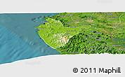 Physical Panoramic Map of Santa Cruz, satellite outside