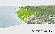 Physical Panoramic Map of Santa Cruz, semi-desaturated