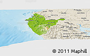 Physical Panoramic Map of Santa Cruz, shaded relief outside