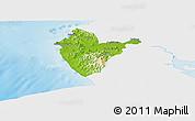 Physical Panoramic Map of Santa Cruz, single color outside