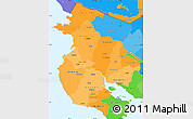 Political Shades Simple Map of Guanacaste