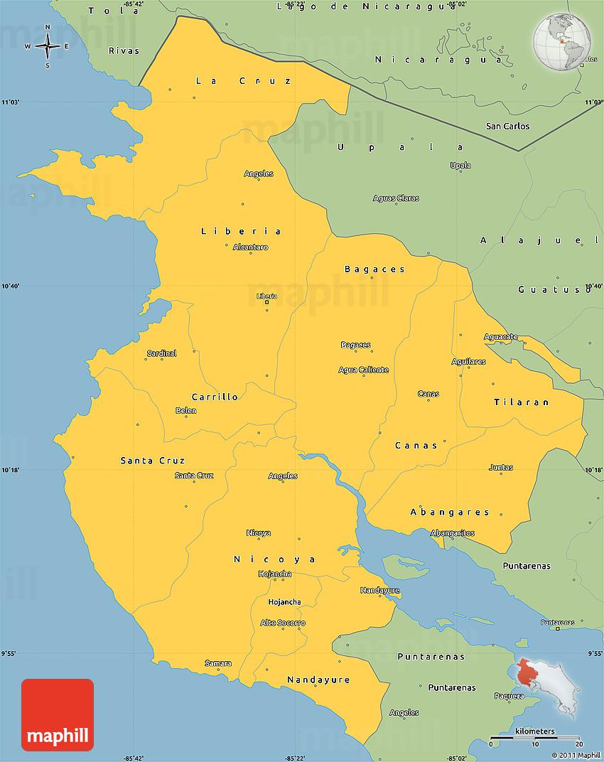 Savanna Style Simple Map of Guanacaste