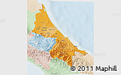 Political Shades 3D Map of Limon, lighten