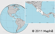 Blank Location Map of Costa Rica, gray outside