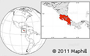 Blank Location Map of Costa Rica, highlighted continent