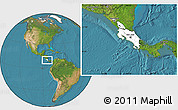 Blank Location Map of Costa Rica, satellite outside