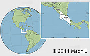 Blank Location Map of Costa Rica, savanna style outside