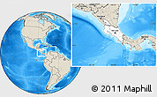 Blank Location Map of Costa Rica, shaded relief outside