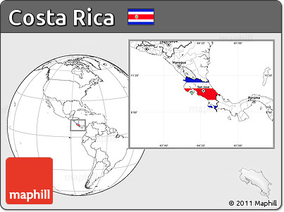 Flag Location Map of Costa Rica, blank outside