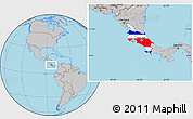 Flag Location Map of Costa Rica, gray outside