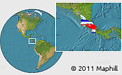 Flag Location Map of Costa Rica, satellite outside