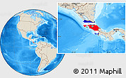 Flag Location Map of Costa Rica, shaded relief outside