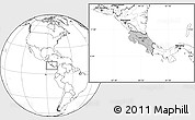 Gray Location Map of Costa Rica, blank outside