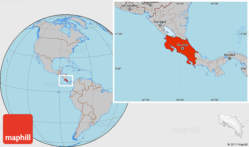 Gray Location Map Of Costa Rica - Map of costa rica world