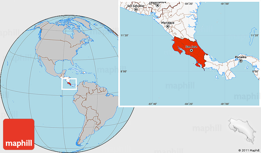 Gray location map of costa rica highlighted continent gumiabroncs Image collections