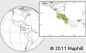 Physical Location Map of Costa Rica, blank outside