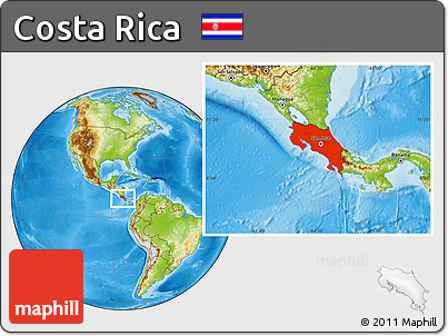 Physical Location Map of Costa Rica