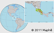 Physical Location Map of Costa Rica, gray outside