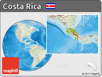 Physical Location Map of Costa Rica, lighten, land only