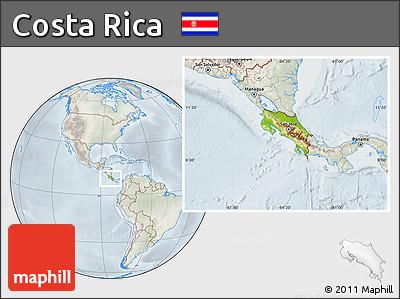 Physical Location Map of Costa Rica, lighten, semi-desaturated
