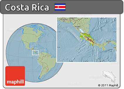 Physical Location Map of Costa Rica, savanna style outside, hill shading