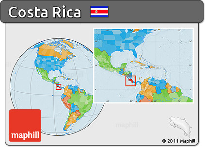 Free Political Location Map of Costa Rica, within the entire continent