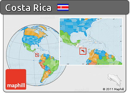 Free Political Location Map of Costa Rica, highlighted continent ...