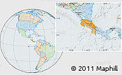 Political Location Map of Costa Rica, lighten