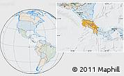 Political Location Map of Costa Rica, lighten, semi-desaturated