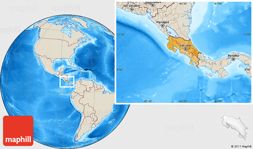 Political Location Map of Costa Rica shaded relief outside