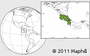 Satellite Location Map of Costa Rica, blank outside