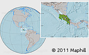 Satellite Location Map of Costa Rica, gray outside, hill shading