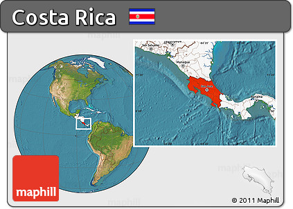 Free Satellite Location Map of Costa Rica highlighted continent
