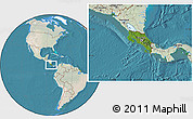 Satellite Location Map of Costa Rica, lighten, land only