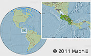 Satellite Location Map of Costa Rica, savanna style outside, hill shading