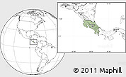 Savanna Style Location Map of Costa Rica, blank outside, hill shading inside