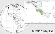 Savanna Style Location Map of Costa Rica, blank outside