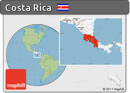 Free Savanna Style Location Map of Costa Rica highlighted continent