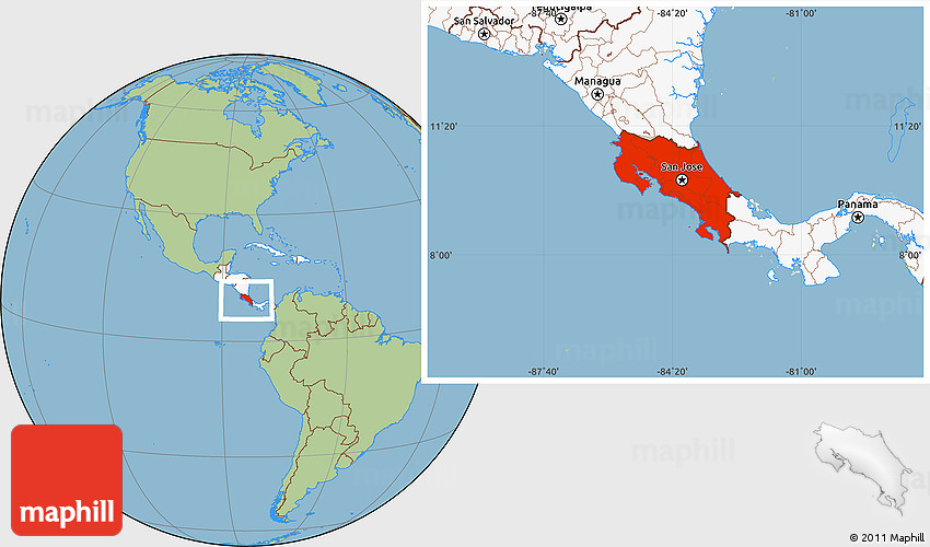 Savanna Style Location Map of Costa Rica, highlighted continent