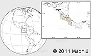 Shaded Relief Location Map of Costa Rica, blank outside