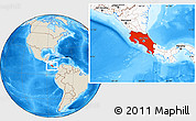 Shaded Relief Location Map of Costa Rica, highlighted continent