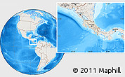 Shaded Relief Location Map of Costa Rica, lighten, land only