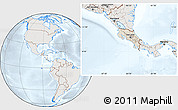 Shaded Relief Location Map of Costa Rica, lighten, semi-desaturated