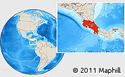 Shaded Relief Location Map of Costa Rica