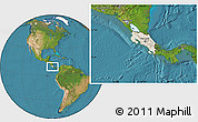 Shaded Relief Location Map of Costa Rica, satellite outside
