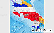 Flag Map of Costa Rica, political outside
