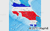 Flag Map of Costa Rica, political shades outside