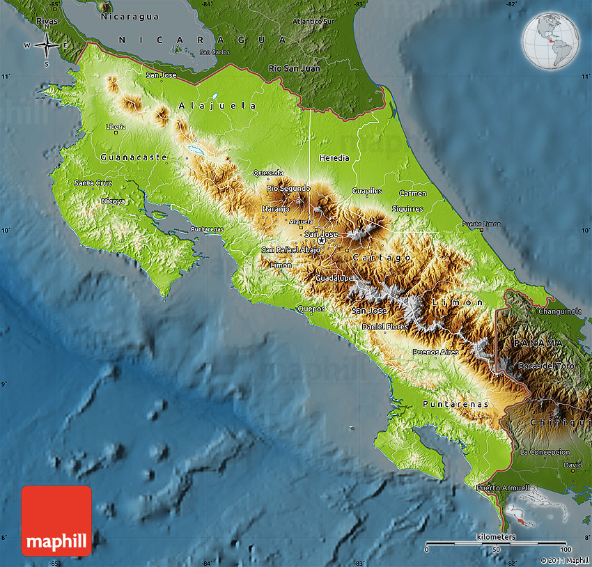 Physical Map of Costa Rica darken