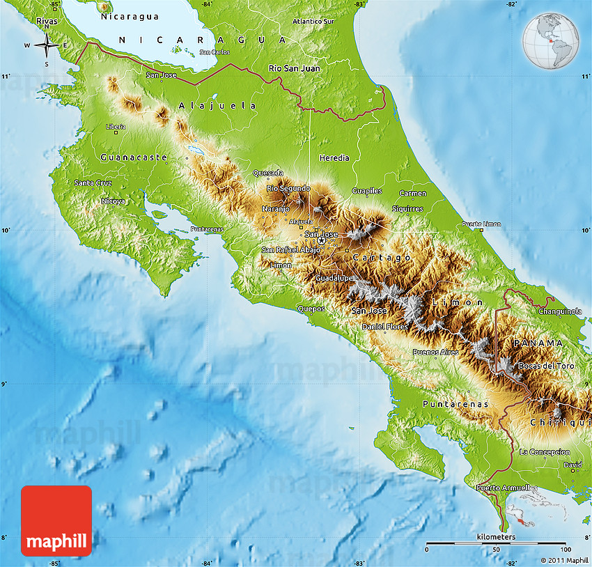 Physical Map of Costa Rica